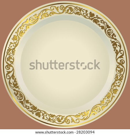 Old-fashioned white plate with a gold vintage ornament