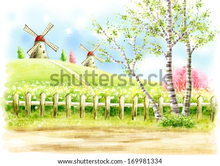 Old-fashioned windmills seen from a country lane. - stock photo