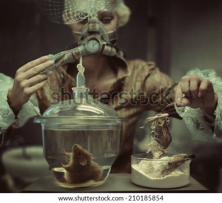 Old fashioned woman in laboratory - stock photo