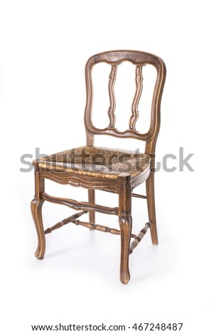 Old fashioned wood chair on the white background.