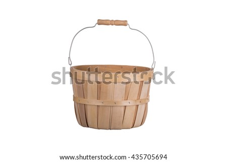 Old fashioned wooden basket front view  isolated on white background