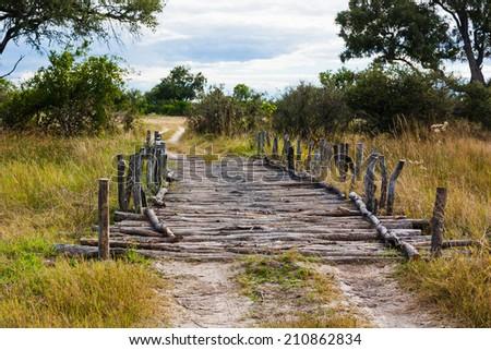 Old fashioned wooden bridge in Moremi National Park, Botwana. - stock photo