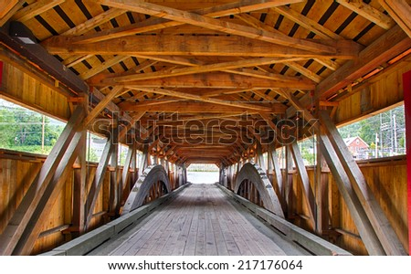 Old fashioned wooden bridge in Vermont - stock photo