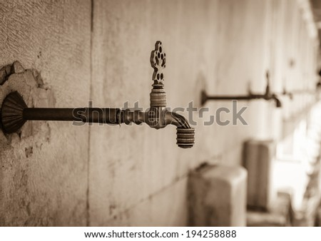 old faucet in marble in the mosque. Istanbul Turkey - stock photo
