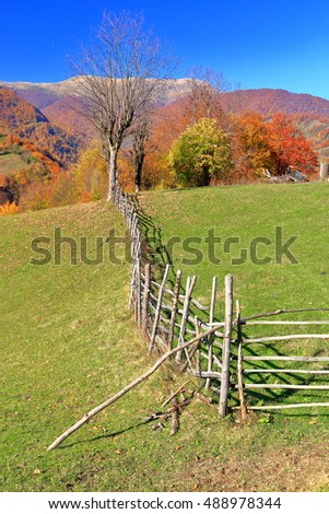 Old fence on a green meadow in autumn