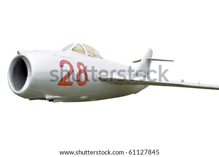 Old fighter, isolated on white - stock photo