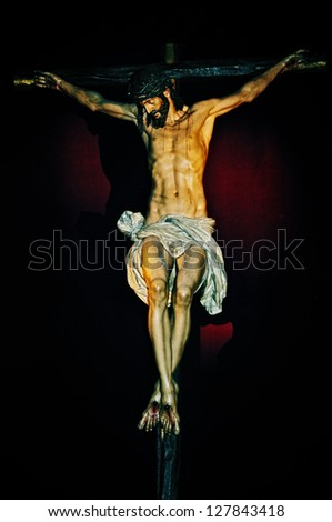 old figure of Jesus Christ in the Holy Cross - stock photo