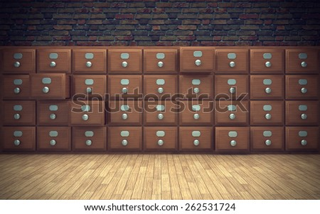 old file cabinet in room. 3D rendering - stock photo