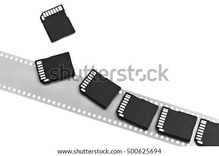 Old film and modern digital compact SD cards isolated white