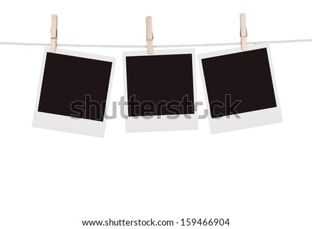 Old Film Blanks Hanging on a Rope - stock photo