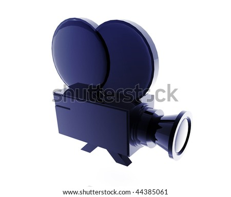 Old film camera illustration glossy metal style isolated - stock photo