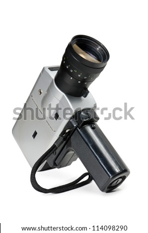 old film camera, on a white background - stock photo