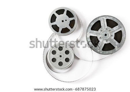 Old film strip isolated on white background. Top view. Copy space