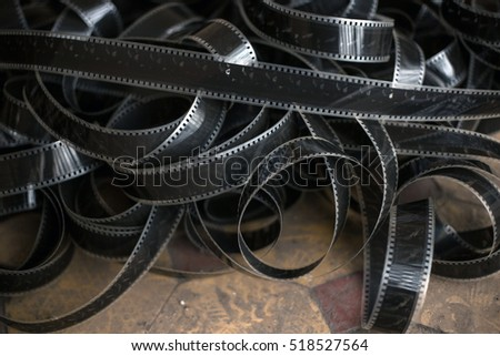 Old film strip on the floor