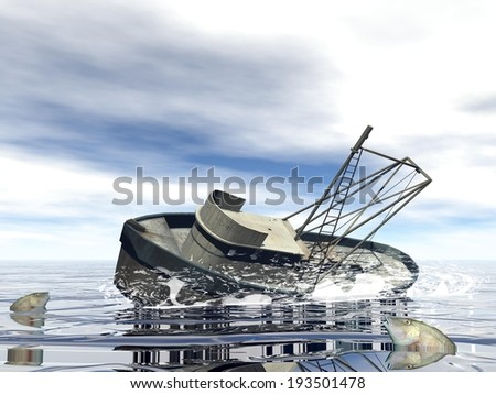 Old fishing boat sinking in the ocean
