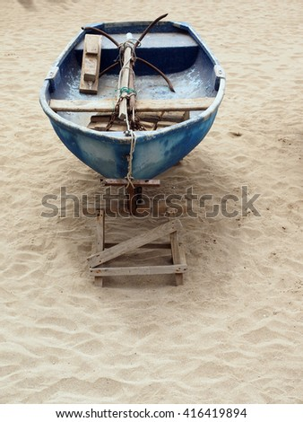 old fishing boat with anchor Playa Las Canteras beach Las Palmas Grand Canary Island Spain     - stock photo