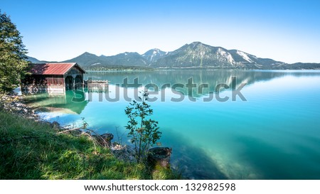 old fishing hut at the walchensee in germany - stock photo