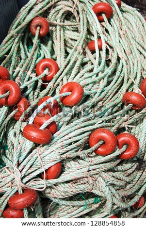 old fishing nets closeup - stock photo