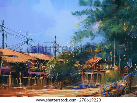 old fishing village,oil painting style - stock photo