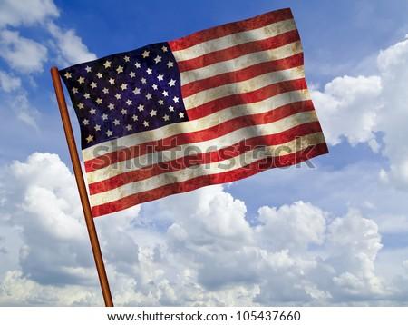Old 1960 flag of USA waving against blue sky, USA flag for USA Independence Day, USA The Stars and Stripes flag, USA Old Glory flag, USA Star Spangled Banner flag - stock photo