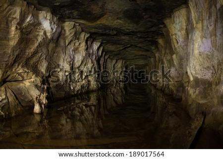 Old flooded phosphorite mine - stock photo