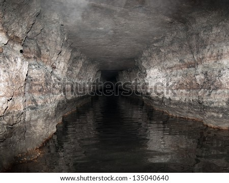Old flooded tunnel. Peter the Great's Naval Fortress. - stock photo