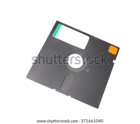 Old 5.25 floppy disk with label
