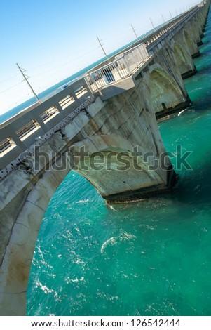 Old Florida Keys railroad bridge. - stock photo