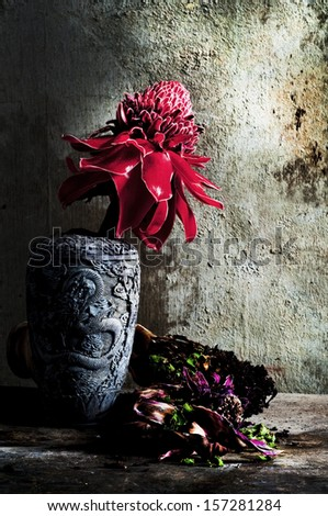 Old flowers still life - stock photo