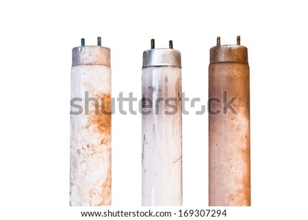 Old fluorescent lighting - stock photo