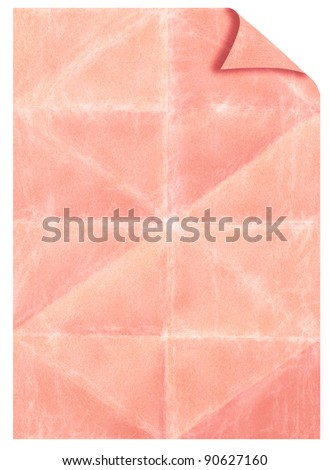 Old folded paper texture with stains scratched patterns and the bent edge - stock photo