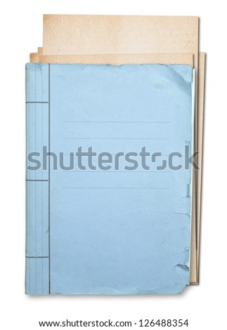 Old folder isolated on white background clipping path. - stock photo