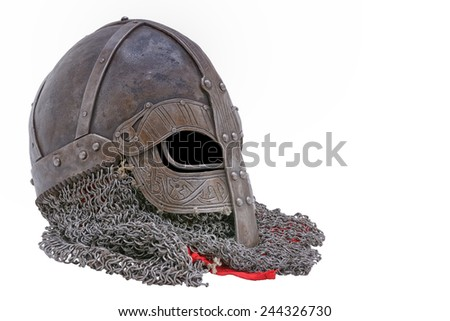 Old forged Viking helmet on a white background. - stock photo