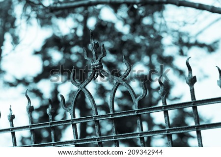 Old forging gate with ornament of entry to abandoned manor, castle or Victorian house.  Aged photo. Cold blue filter. Blurred tree in background. - stock photo