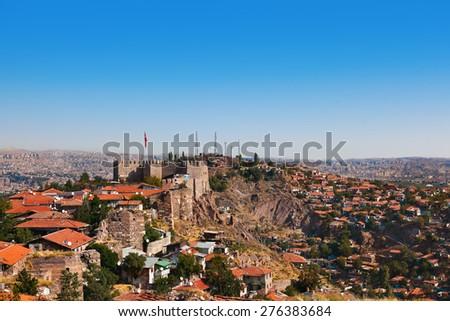 Old fort in Ankara Turkey - architecture travel background - stock photo