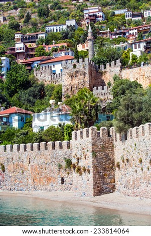 old fortress and sea in Alanya, Turkey  - stock photo