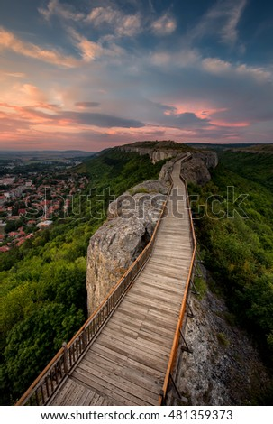 Old fortress at sunset / A sunset view of the medieval fortress Ovech near Provadia, Bulgaria