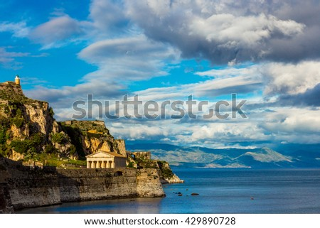 Old fortress in Corfu town, Greece - stock photo