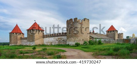 Old fortress on the river Dniester in town Bender, Transnistria. City within the borders of Moldova under of the control unrecognized Transnistria Republic