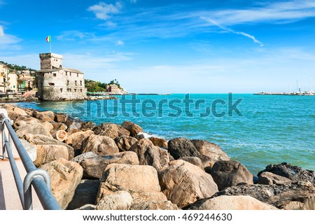 Old fortress on the sea coast in Rapallo, Italy