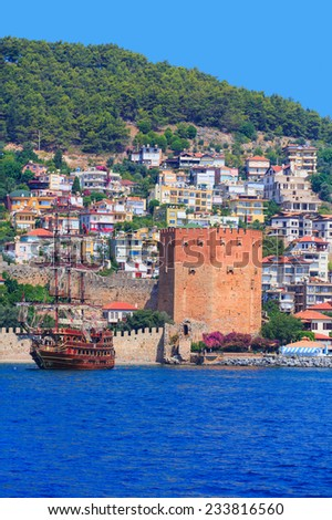 old fortress (Red Tower - Kizil Kule) and sea in Alanya, Turkey  - stock photo