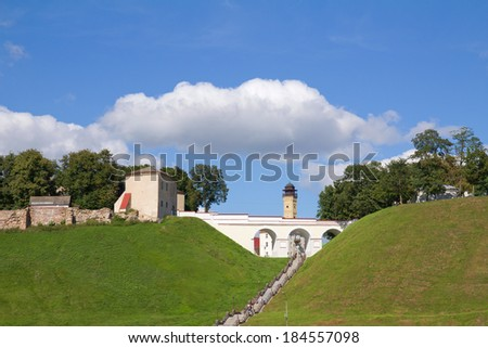 Old Fortress stairs and blue sky. Grodno, Belarus