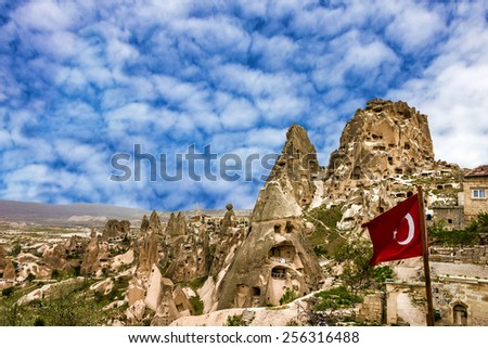 Old fortress Uchisar in Goreme national park, Cappadocia, Turkey.  - stock photo