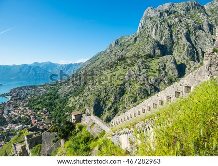 Old fortress wall on the hill above the old town of Kotor in Montenegro