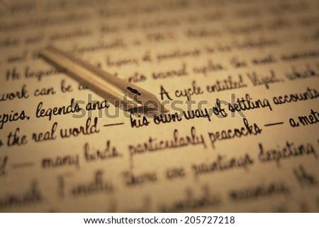 old fountain pen on paper handwritten  - stock photo
