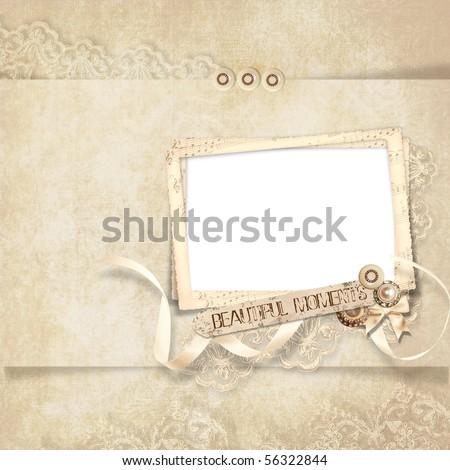 Old frame on  elegant vintage background - stock photo