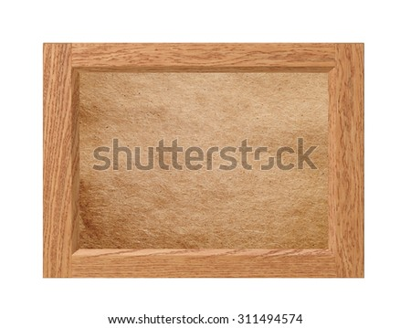 Old frame with empty old paper isolated on white background - stock photo