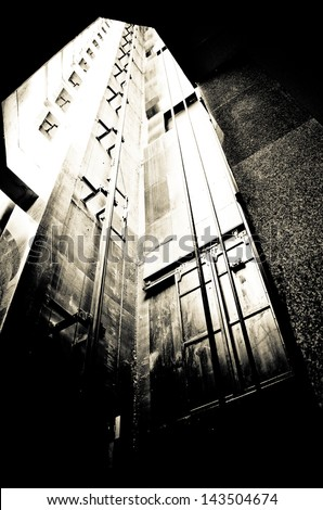 old freight elevator shaft - stock photo