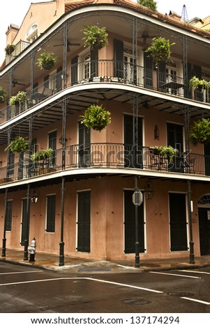 Old french architecture in the French Quarter in New Orleans - stock photo