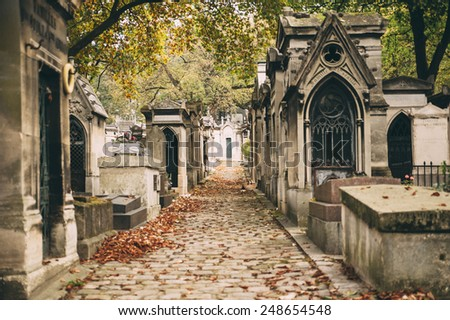 old french cemetery in autumn - stock photo